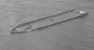 the sherkston wreck as  seen from the air.