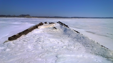 Looking down at the Shipwreck. All Iced up.